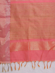 Blue Linen Saree with Pink Pallu