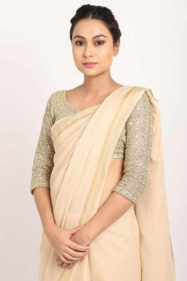 Beige Handloom Cotton Saree