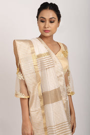 Indian Artizans - Off White Chanderi Saree