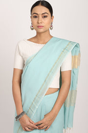 Indian Artizans - Pastel Blue Handloom Cotton Saree