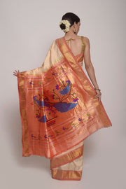 Shop Online for Cream Paithini Saree | Indian Artizans