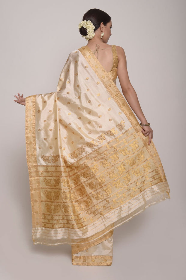 Shop Online for White and Gold Assam Pat Silk Saree | Indian Artizans