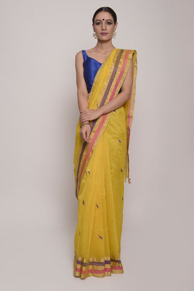 Shop Online for Yellow Cotton Silk Chanderi Saree | Indian Artizans
