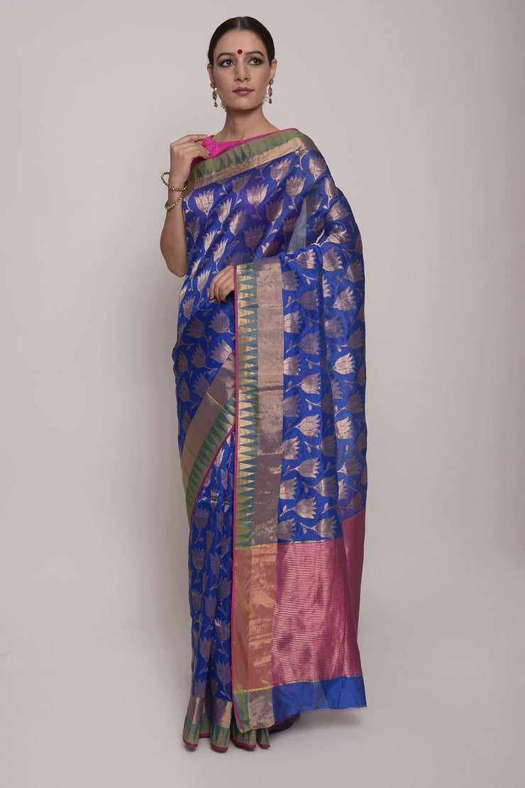 Shop Online for Blue Chanderi Silk Saree | Indian Artizans