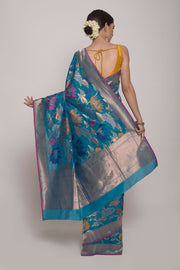 Shop Online for Turquoise Pure Banarasi Silk Saree | Indian Artizans