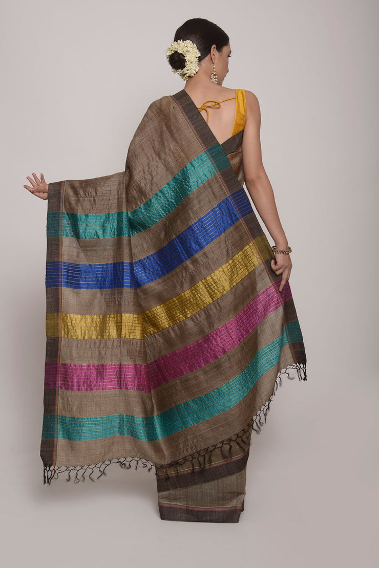 Shop Online for Grey Bhagalpuri Tussar Silk Saree | Indian Artizans