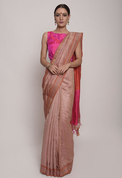 Shop Online for Ruby Pink Bhagalpuri Tussar Silk Saree | Indian Artizans