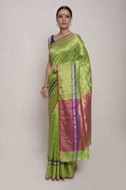 Shop Online for Parrot Green Chanderi Silk Saree | Indian Artizans