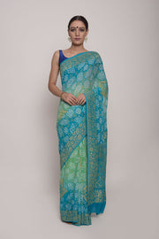 Shop Online for Blue Bandhej Georgette Saree | Indian Artizans
