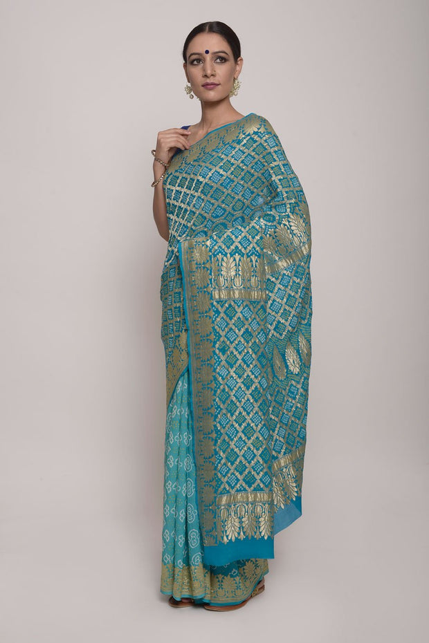 Shop Online for Blue Bandhej Chiffon Saree | Indian Artizans