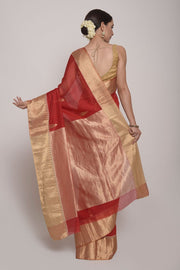 Shop Online for  Red Chanderi Cotton Silk Saree | Indian Artizans