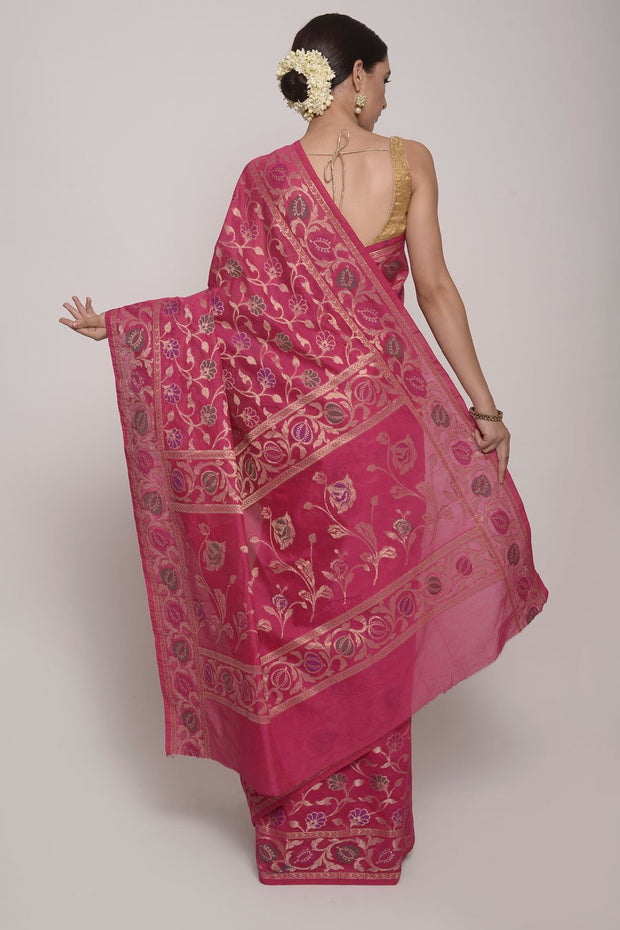 Shop Online for Magenta Jamdani Brocade Silk Saree | Indian Artizans