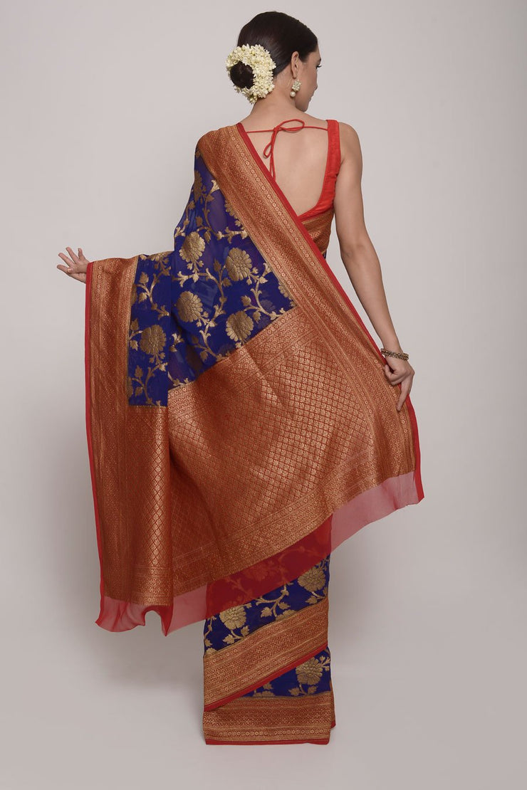 Shop Online for Purple Banarasi Silk Saree | Indian Artizans