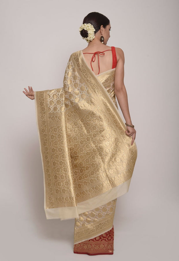 Shop Online for Off white and Red Banarasi Silk Saree | Indian Artizans