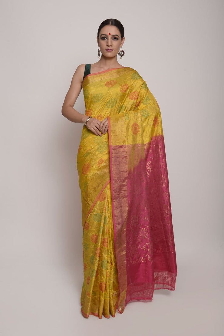 Shop Online for Yellow Uppada Silk Saree | Indian Artizans