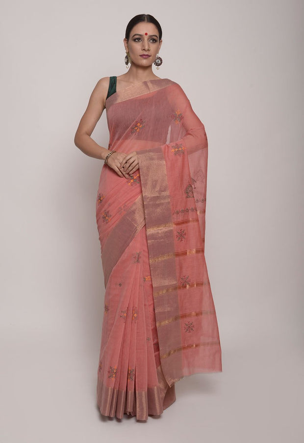 Shop Online for Pink Handcrafted Cotton Kasuti Saree | Indian Artizans