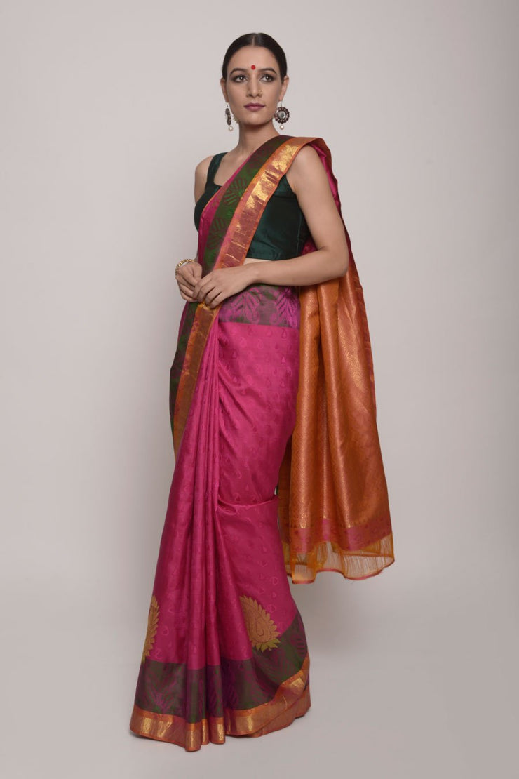 Shop Online for magenta Kanjeevaram Silk Saree | Indian Artizans