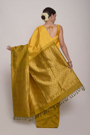 Shop Online for Green and Yellow Kanjeevaram Saree | Indian Artizans