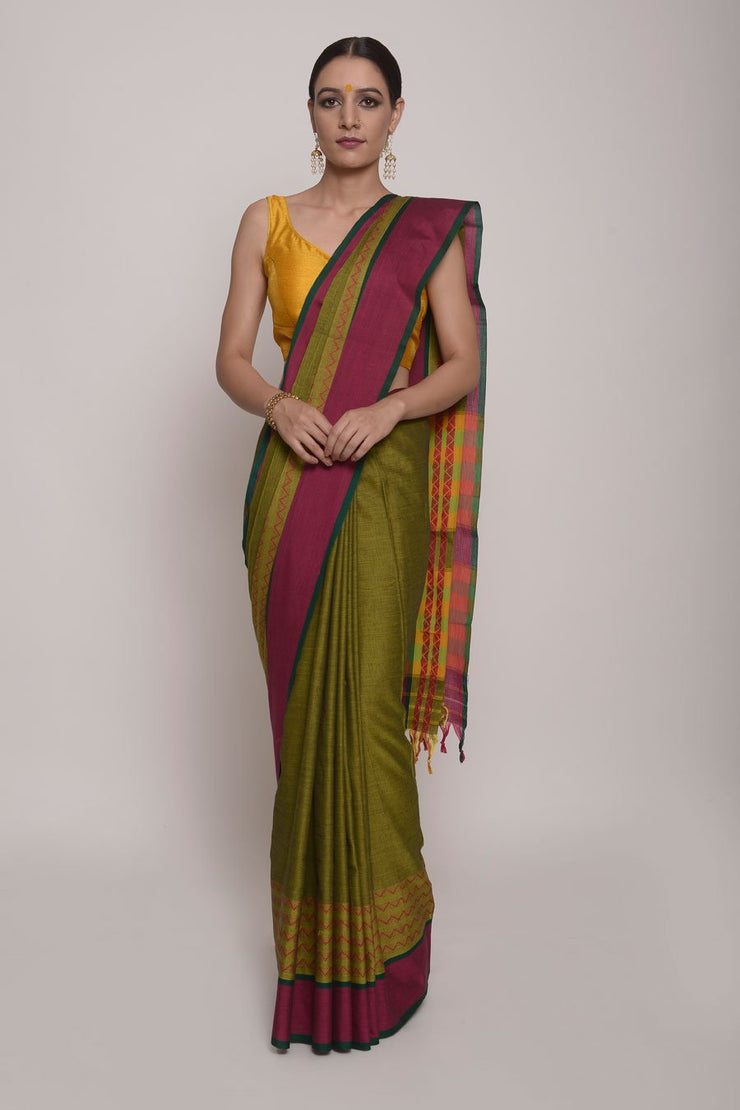 Shop Online for  Forest Green semi raw Silk Saree| Indian Artizans