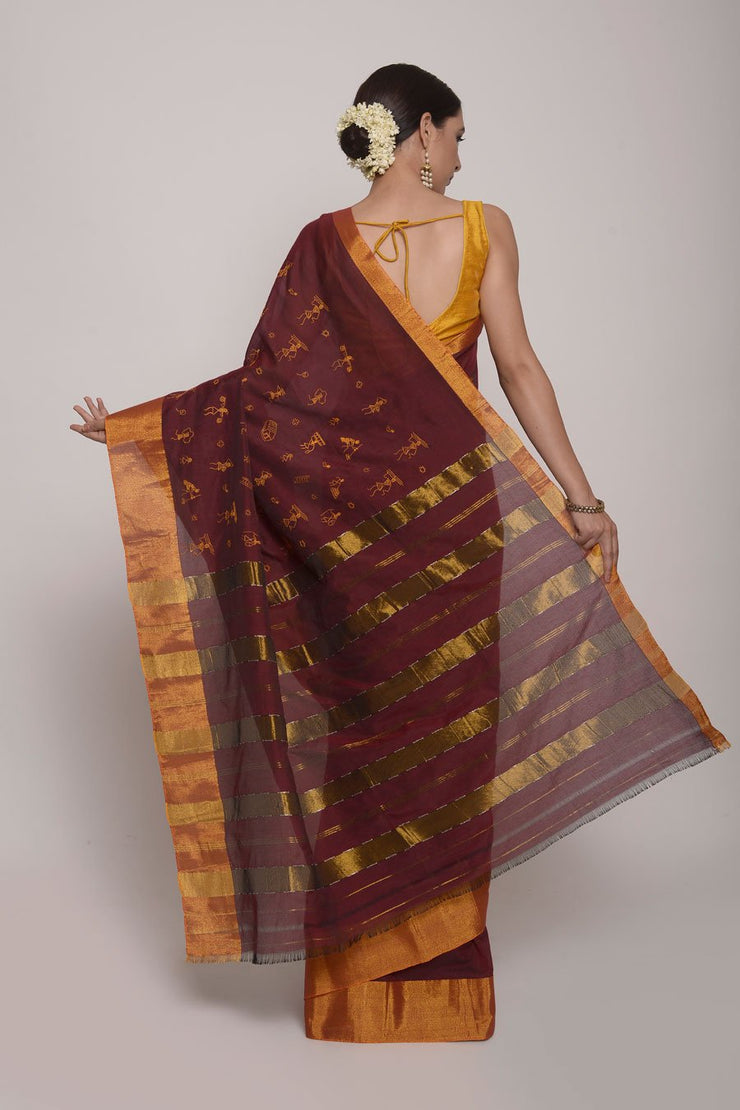 Shop Online for Maroon Maharasthra Cotton Silk Saree | Indian Artizans