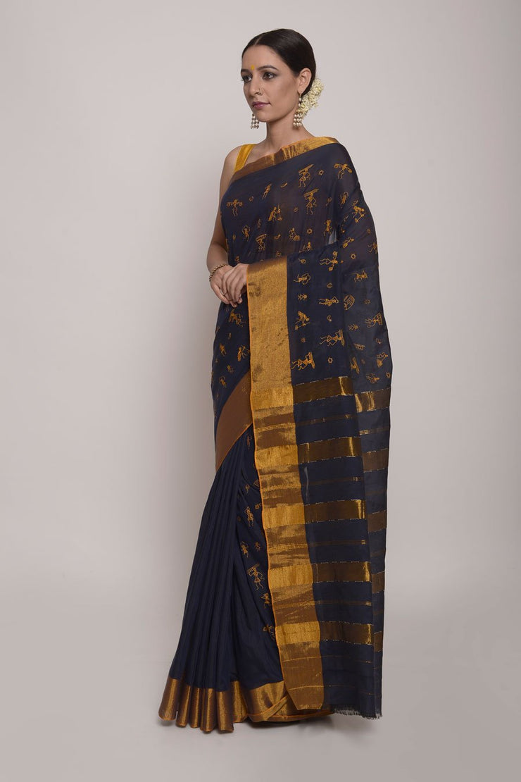Shop Online for Navy Blue Maharasthra Cotton Silk Saree | Indian Artizans