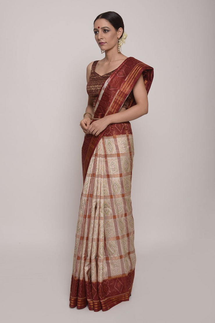 Shop Online for White and Red Ikkat Silk Saree | Indian Artizans
