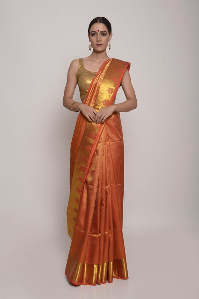 Shop Online for Orange Gold Kanjeevram Silk Saree | Indian Artizans