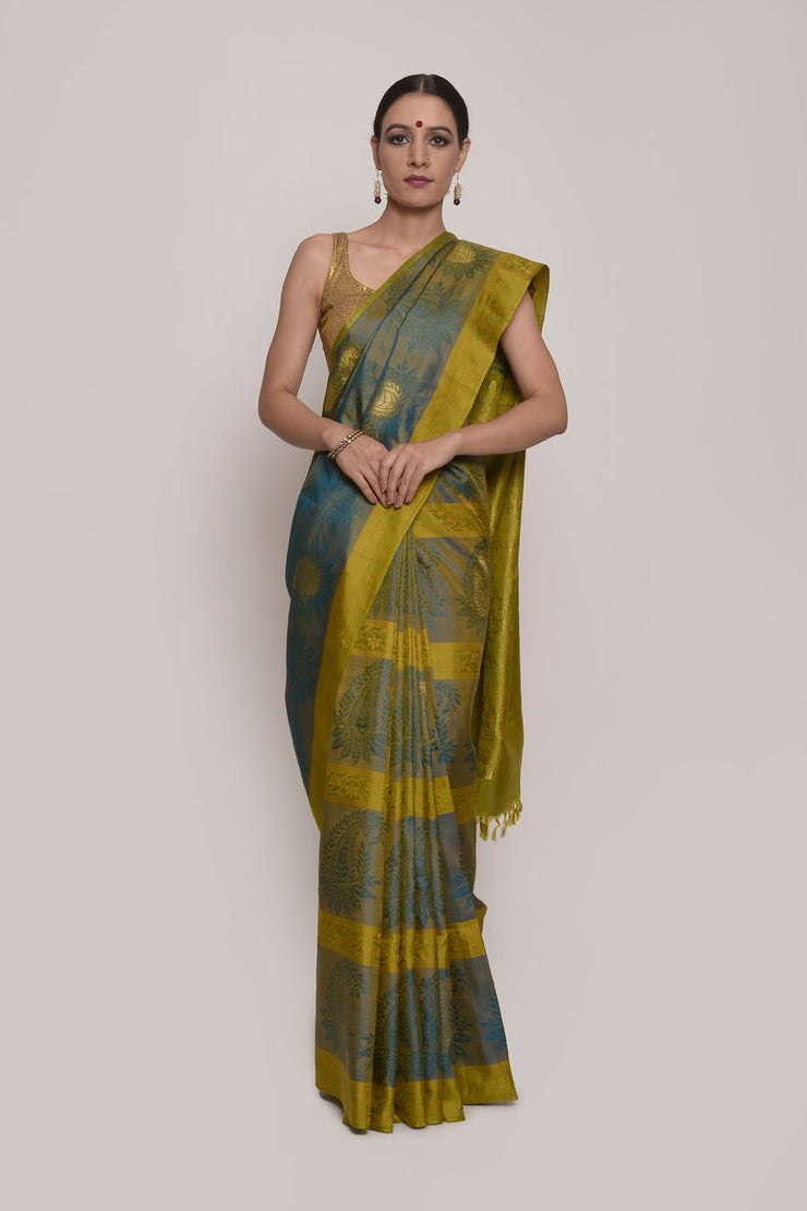 Shop Online for Green Kanjeevram Silk Saree | Indian Artizans