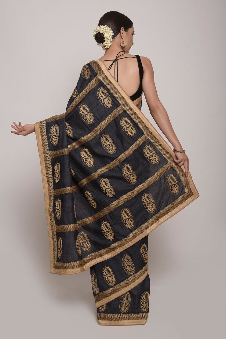 Shop Online for Black embroidered Silk Saree | Indian Artizans