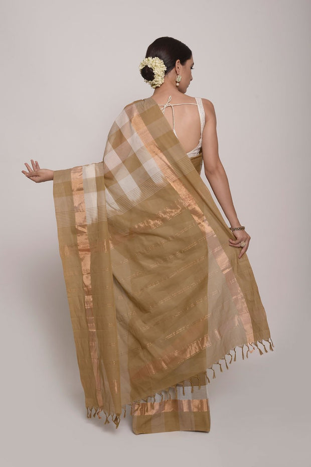 Shop Online for White and Gold Checks Coimbatore Cotton Saree | Indian Artizans
