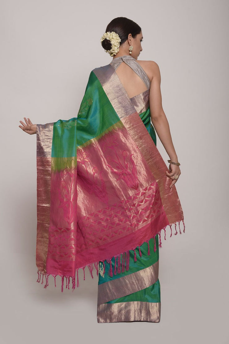 Shop Online for Parrot Green Jamdani Silk Saree | Indian Artizans