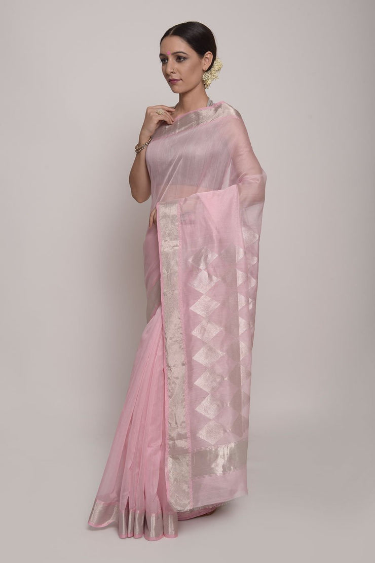 Shop Online for Salmon Pink Chanderi Katan Silk Saree| Indian Artizans