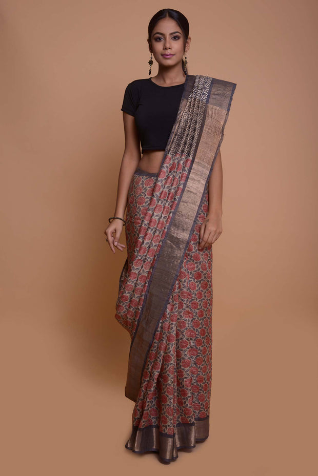 Shop online for Tussar Screen Printed  Saree with Ghicha Pallu| Indian Artizans
