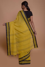 Shop online for Mustard Mulmul Saree with Black Border | Indian Artizans