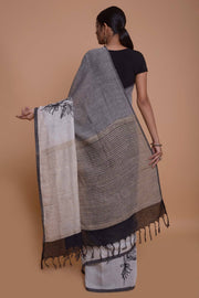 Shop online for Grey and White Cotton Linen Saree | Indian Artizans