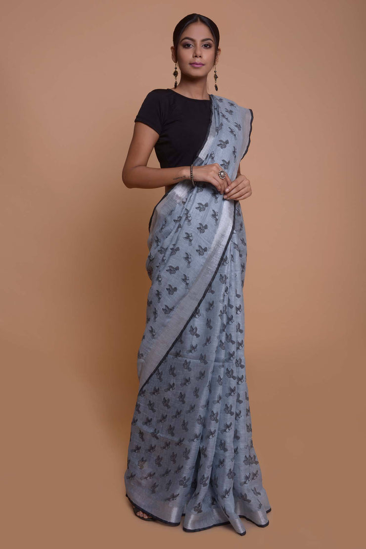 Shop online for Grey and Silver Linen Saree | Indian Artizans