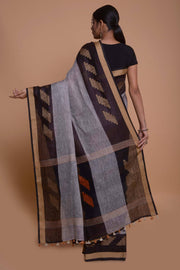Shop online for Grey and Black Linen Saree | Indian Artizans