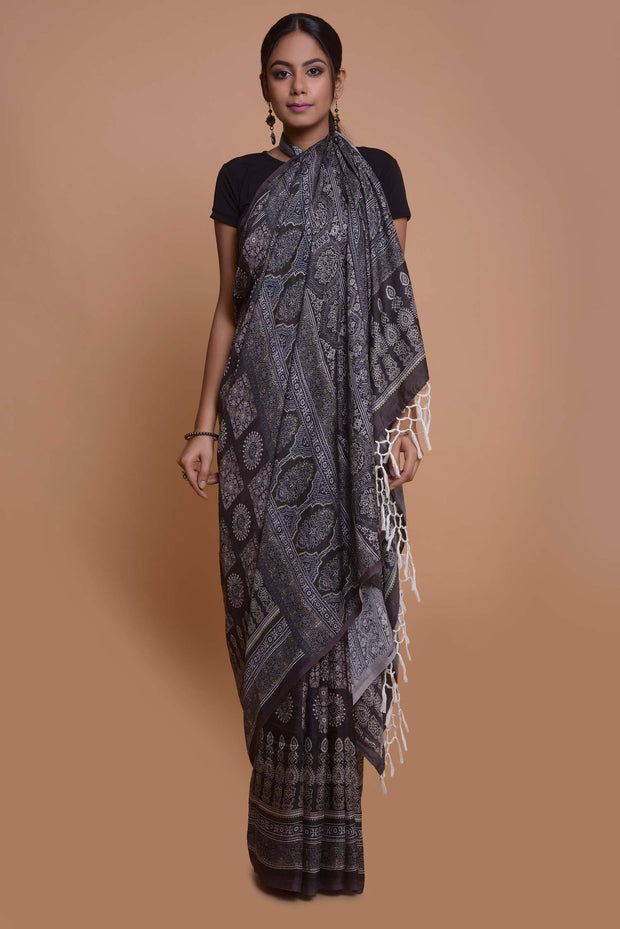 Shop online for Black and Grey Mulberry Silk Saree | Indian Artizans