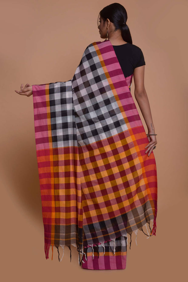 Shop online for Black and White Coimbatore Checks Cotton Saree | Indian Artizans