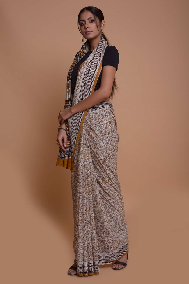 Shop online for Beige and Mustard Block Print Cotton Saree | Indian Artizans
