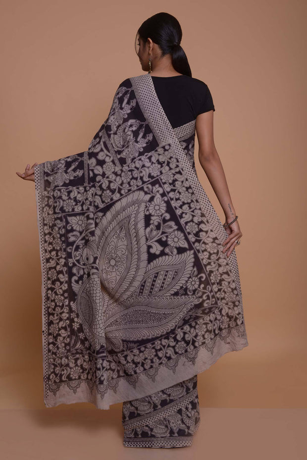 Shop online for Black and Beige Cotton Kalamkari Saree | Indian Artizans