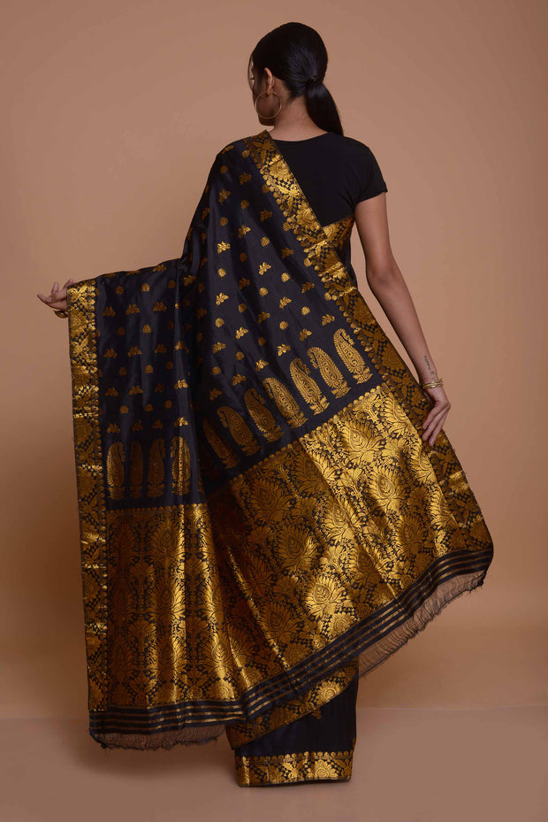 Black and Gold Assamese Pat Silk Saree with Gold Floral Border