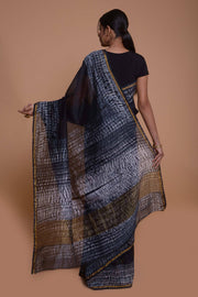 Shop online for Black Tie-Dyed Maheshwari Cotton Silk Saree | Indian Artizans