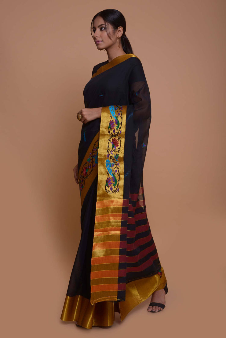 Shop online for Black South Cotton Saree | Indian Artizans