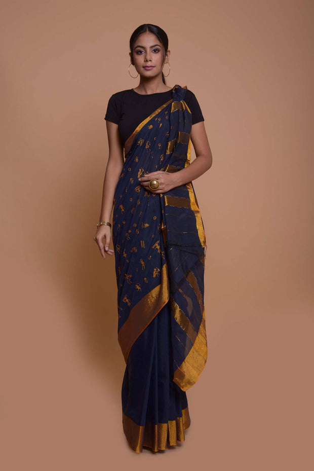 Shop online for Navy Blue Warli Embroidery Cotton Silk Saree | Indian Artizans