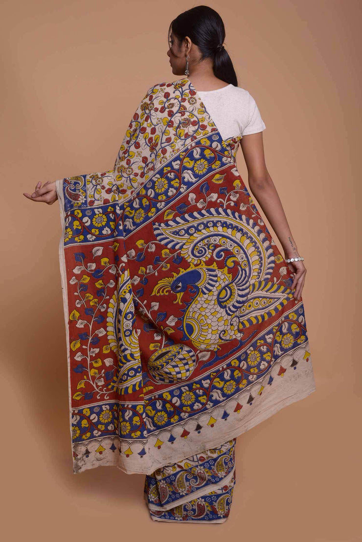 Shop online for Cream Kalamkari Saree | Indian Artizans