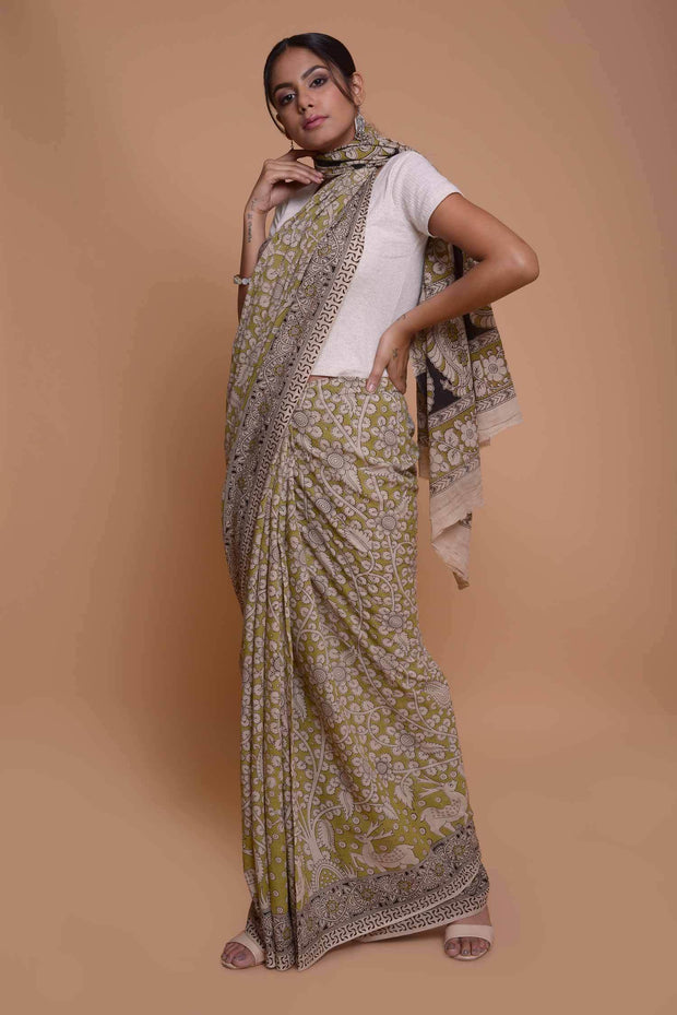 Shop online for Green Cotton Kalamkari Saree | Indian Artizans