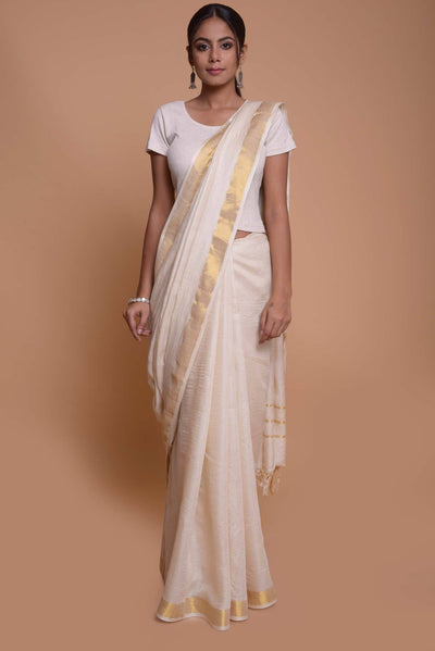 Shop online for White Gold Tussar Silk Saree| Indian Artizans