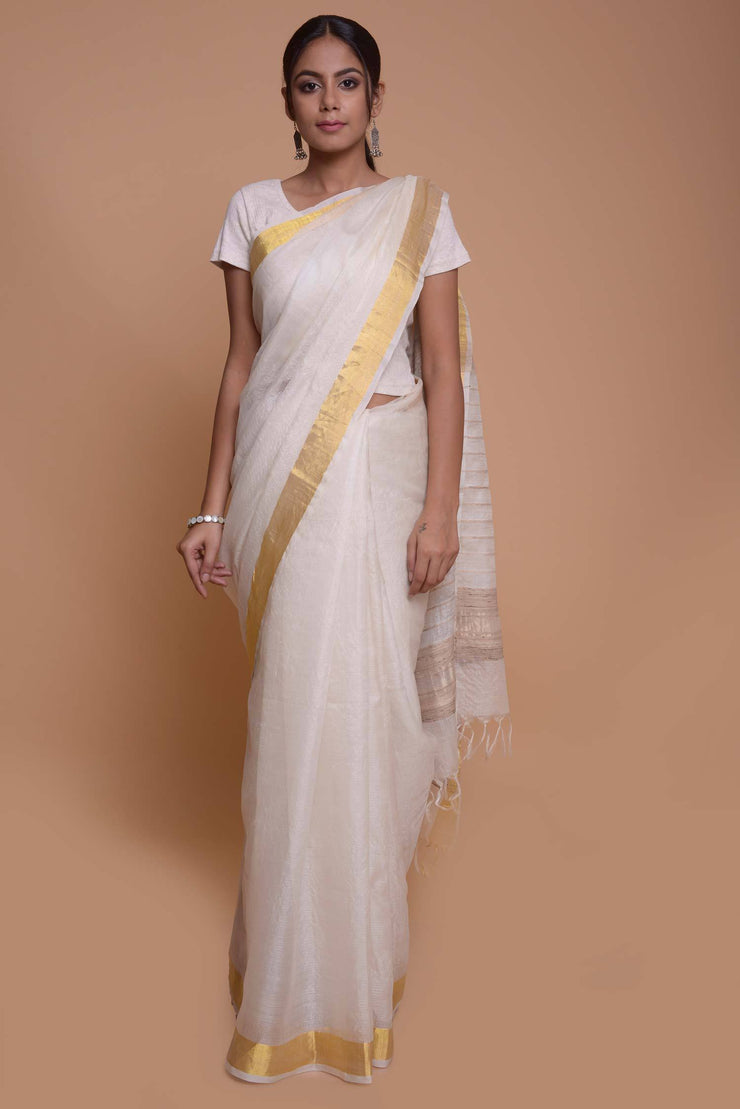 Shop online for White Gold Tussar Mulberry Silk Saree | Indian Artizans