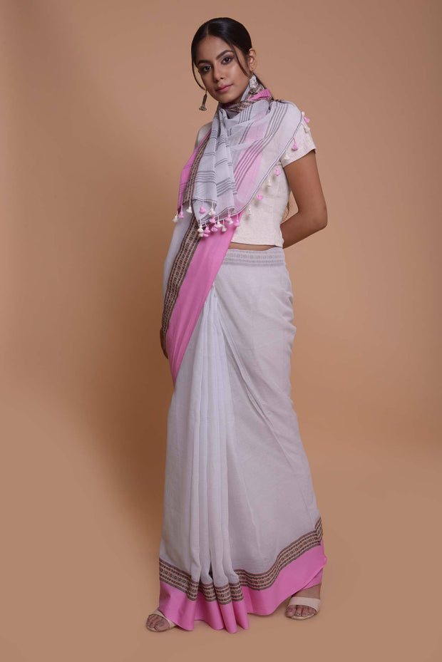Shop online for White Mulmul Saree| Indian Artizans